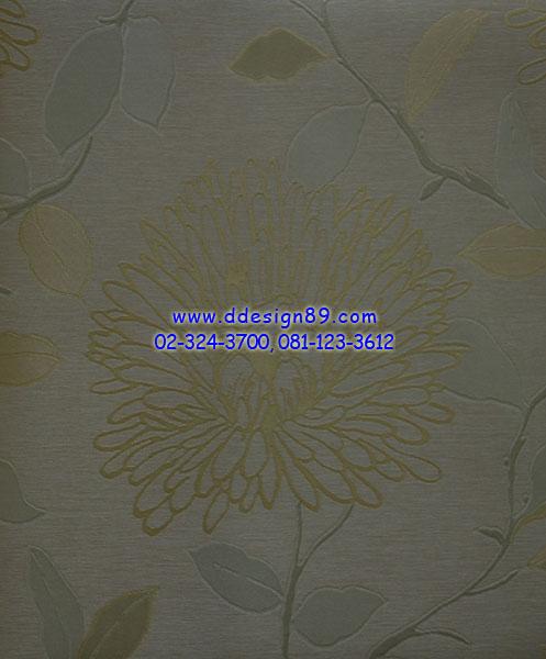 วอลเปเปอร์ลายดอกไม้สีน้ำตาลเข้มพื้นสีเทา
