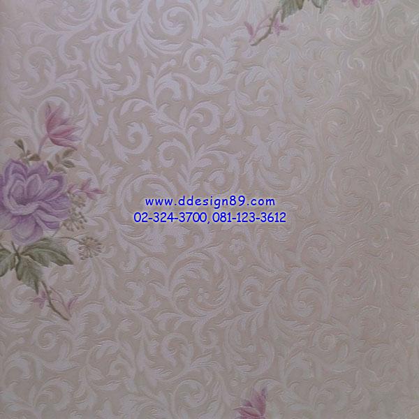 วอลเปเปอร์ติดผนัง ลายโมเดิร์นดอกกุหลาบสีม่วงเข้ม
