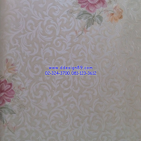 วอลเปเปอร์ติดผนัง ลายโมเดิร์นดอกสีชมพู