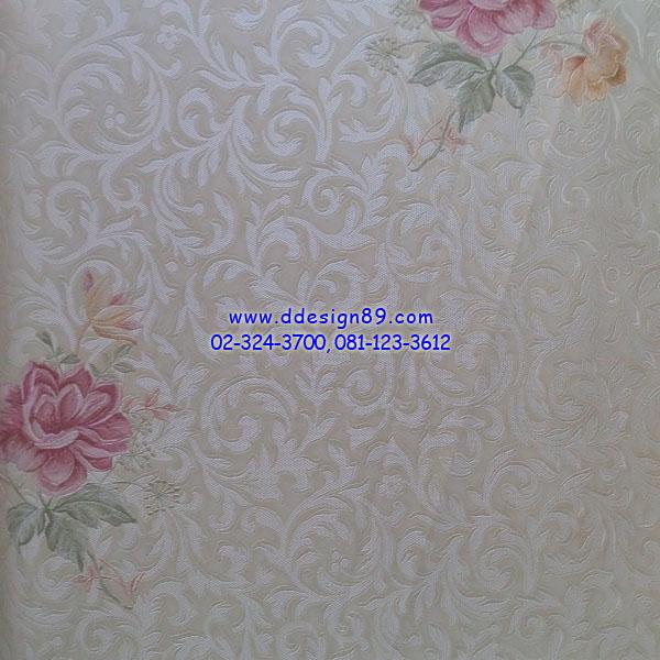 วอลเปเปอร์ติดผนัง ลายโมเดิร์นดอกสีชมพูเข้ม