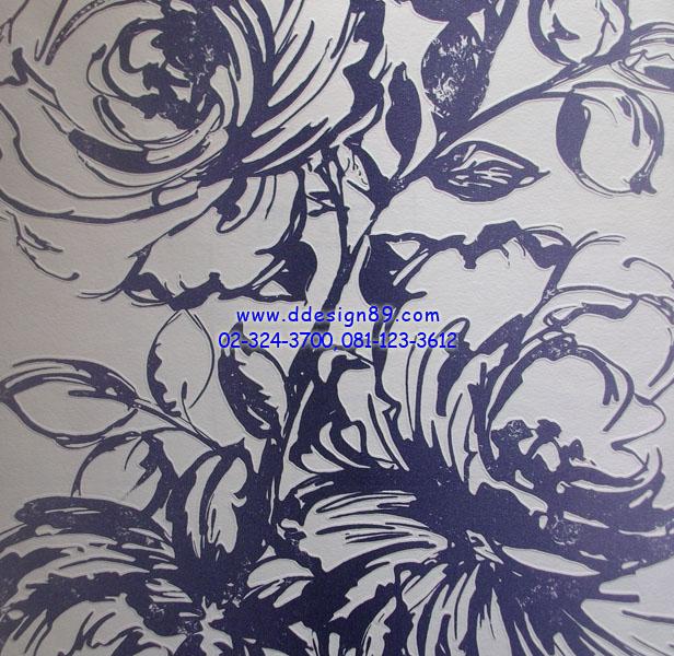 วอลเปเปอร์ลายดอกไม้สีน้ำเงินพื้นสีขาว