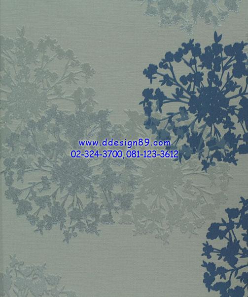 วอลเปเปอร์ติดผนังลายดอกไม้สีน้ำเงิน เทา