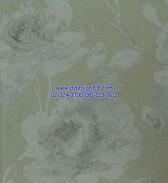วอลเปเอร์ลายดอกไม้สีเทา
