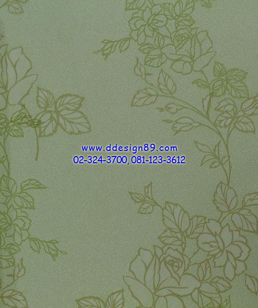 วอลเปเปอร์ลายดอกไม้สีเขียวพื้นสีขาว