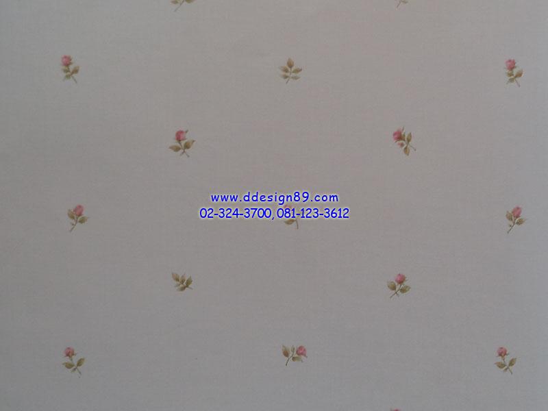 วอลเปเปอร์ลายโมเดิร์นดอกไม้สีชมพูพื้นสีขาว