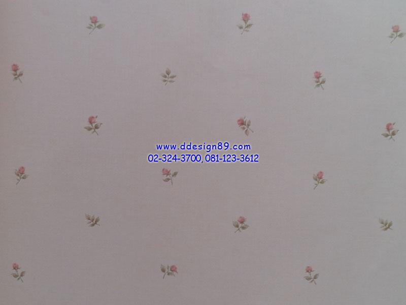 วอลเปเปอร์ลายโมเดิร์นพื้นสีขาวดอกไม้สีชมพู