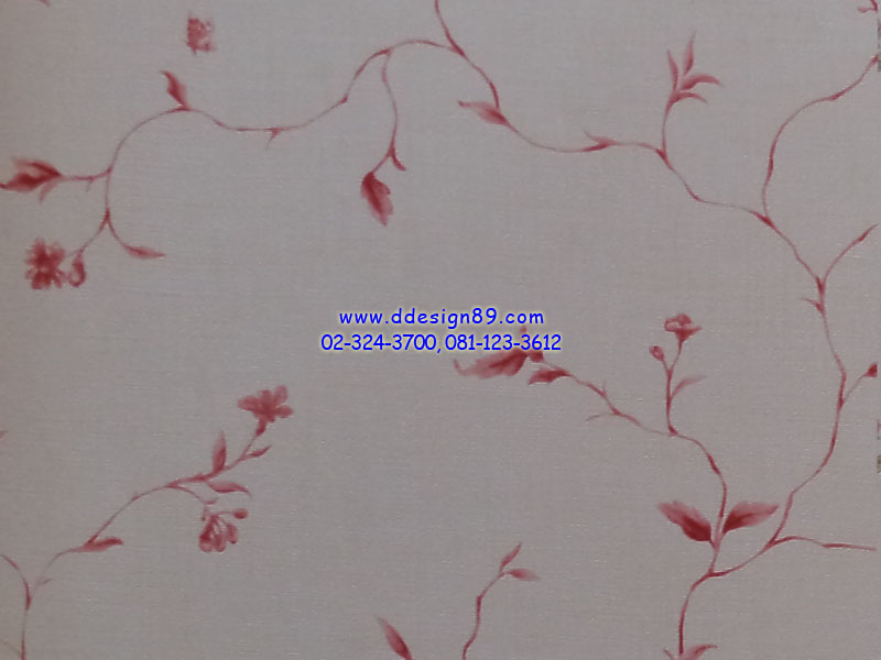 วอลเปเปอร์ลายโมเดิร์นดอกไม้สีแดงพื้นสีขาว