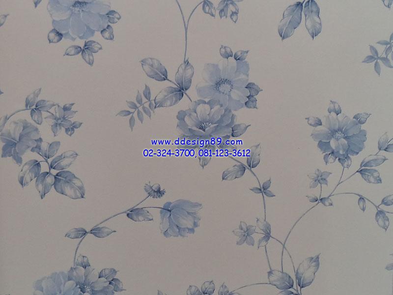 วอลเปเปอร์ลายโมเดิร์นดอกไม้สีฟ้า