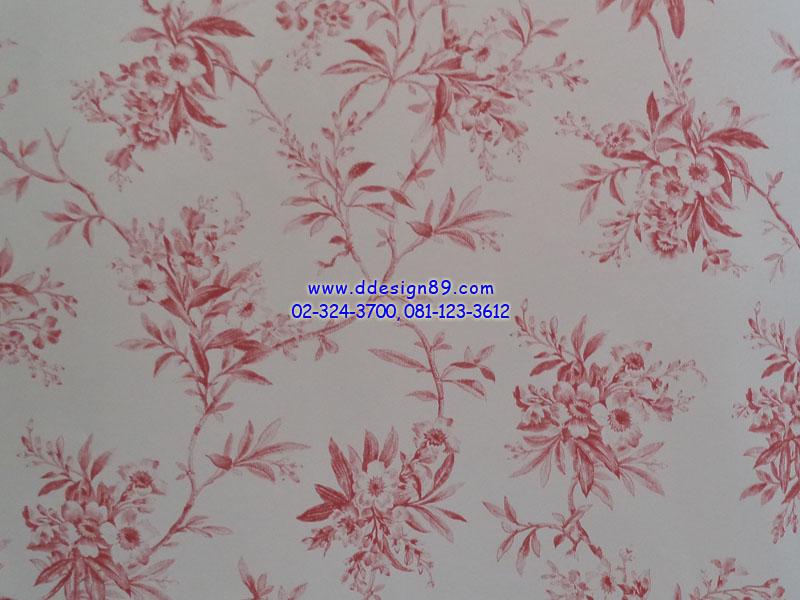 วอลเปอร์เปเปอร์ลายโมเดิร์นสีแดงพื้นสีขาว