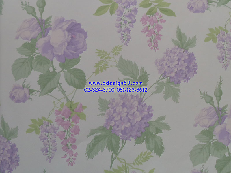 วอลเปอร์ลายวินเทจดอกไม้สีม่วง