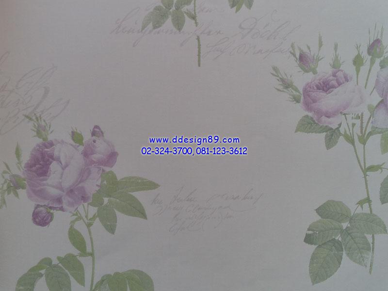 วอลเปเปอร์ลายวินเทจดอกไม้สีม่วง