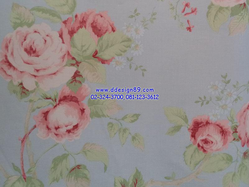 วอลเปเปอร์ลายวินเทจดอกไม้สีชมพูพื้นสีฟ้า