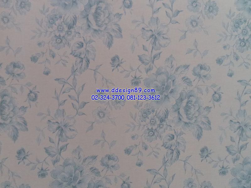 วอลเปเปอร์ลายวินเทจดอกกุกลาบสีฟ้าพื้นสีขาว