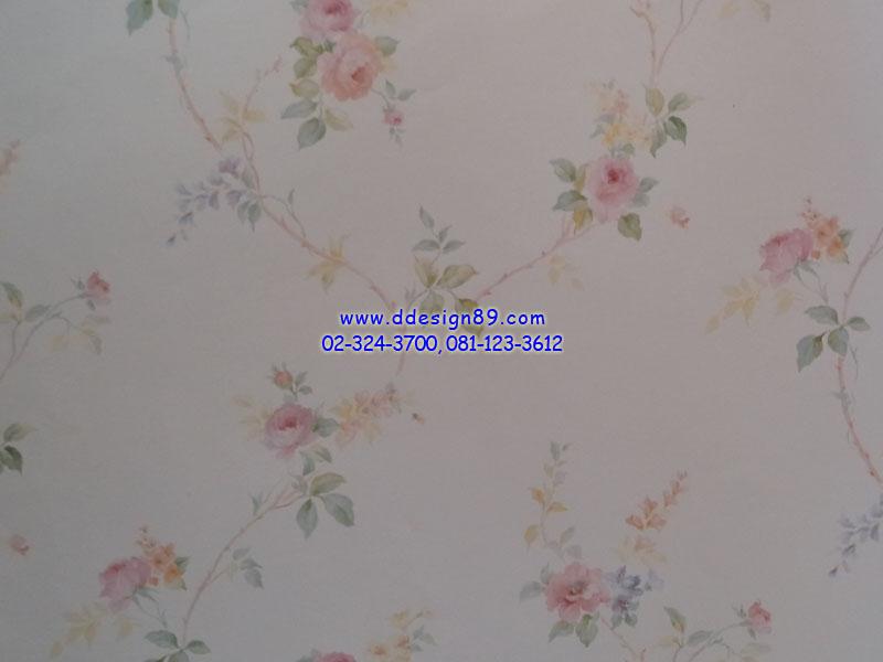 วอลเปเปอร์ลายวินเทจดอกไม้สีชมพูพื้นสีครีม