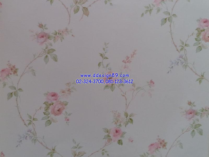วอลเปเปอร์ลายวินเทจดอกไม้สีชมพูพื้นสีขาว