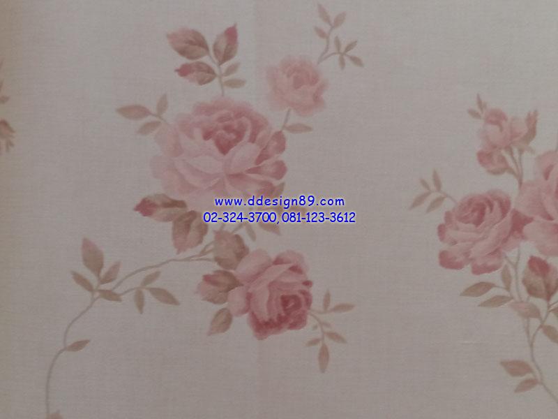 วอลเปเปอร์ลายวินเทจดอกไม้สีชมพูอ่อน