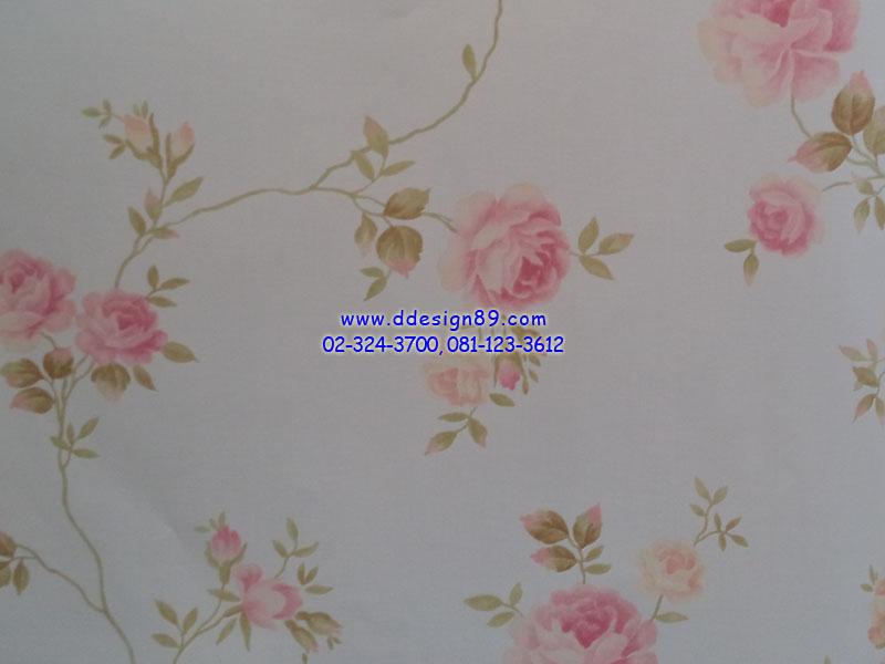 วอลเปเปอร์ลายวินเทจดอกกุหลาบสีชมพูพื้นสีขาว