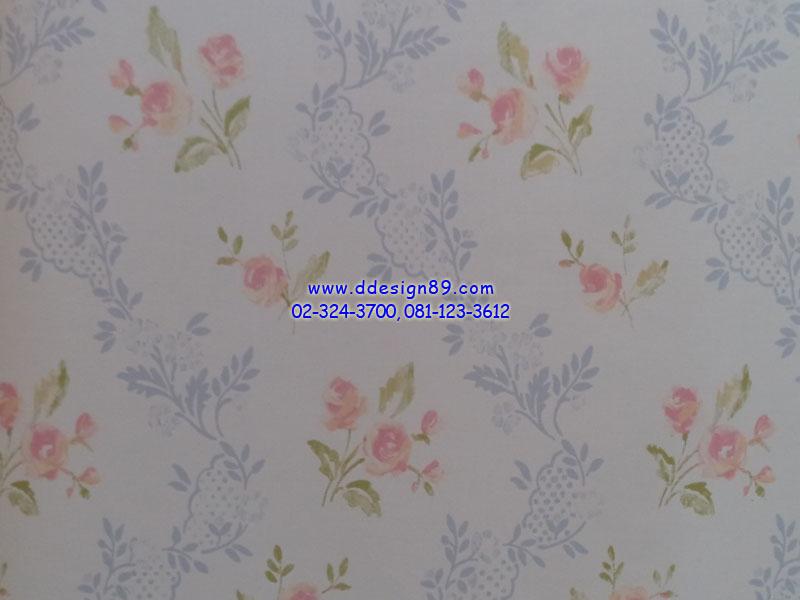 วอลเปเปอร์ลายวินเทจดอกไม้สีชมพู ใบไม้สีฟ้าพื้นสีขาว