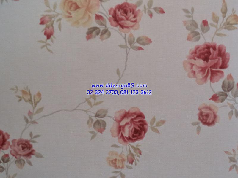 วอลเปเปอร์ลายวินเทจดอกกุหลาบสีแดง ส้ม