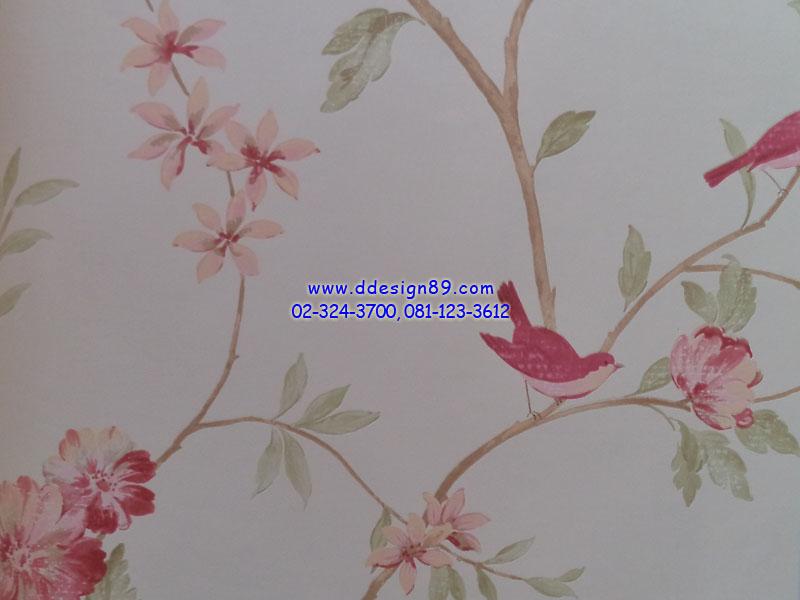 วอลเปเปอร์ลายวินเทจดอกไม้ นก