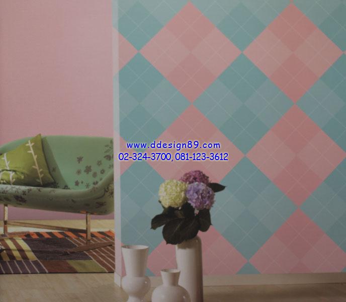 ตัวอย่างวอลเปเปอร์ลายสีสันสสดใสสีฟ้า ชมพู