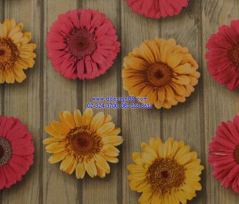 วอลเปเปอร์ติดผนัง ลายดอกไม้ หลากสี พื้นไม้