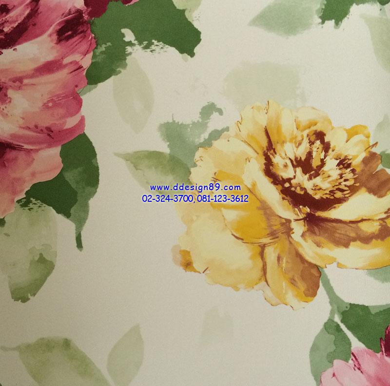วอลเปเปอร์ติดผนัง ลายดอกไม้วินเทจ หลากสี