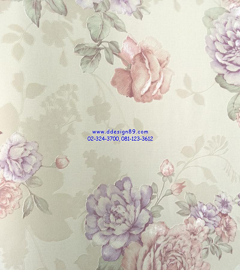 วอลเปเปอร์ติดผนัง ลายดอกไม้วินเทจ สีม่วง