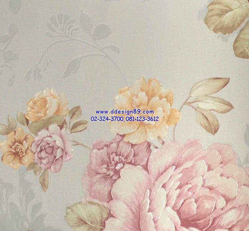 วอลเปเปอร์ติดผนัง ลายดอกไม้วินเทจ สีม่วง ส้ม