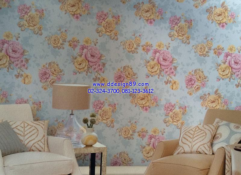 ตัวอย่าง วอลเปเปอร์ติดผนัง ลายดอกไม้วินเทจ สีม่วง ส้ม