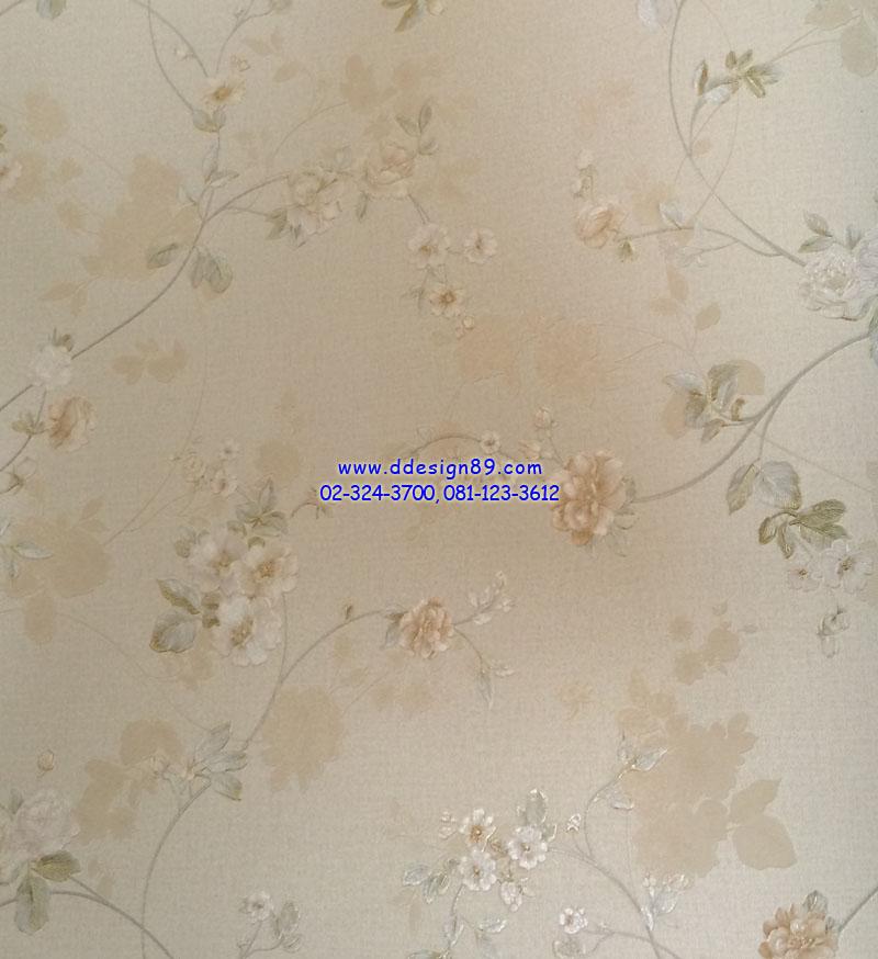 วอลเปเปอร์ติดผนัง ลายดอกไม้วินเทจ สีทองอ่อน