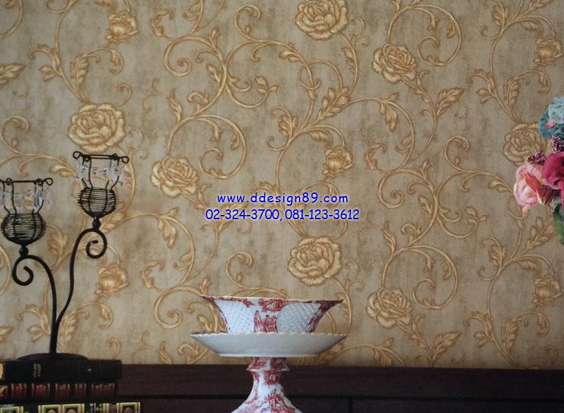 ตัวอย่าง วอลเปเปอร์ติดผนัง ลายดอกไม้วินเทจ สีทอง