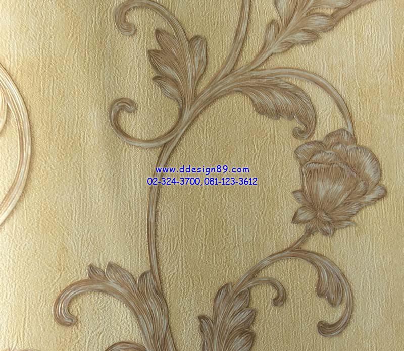 วอลเปเปอร์ติดผนัง ลายดอกไม้วินเทจ สีทองแก่