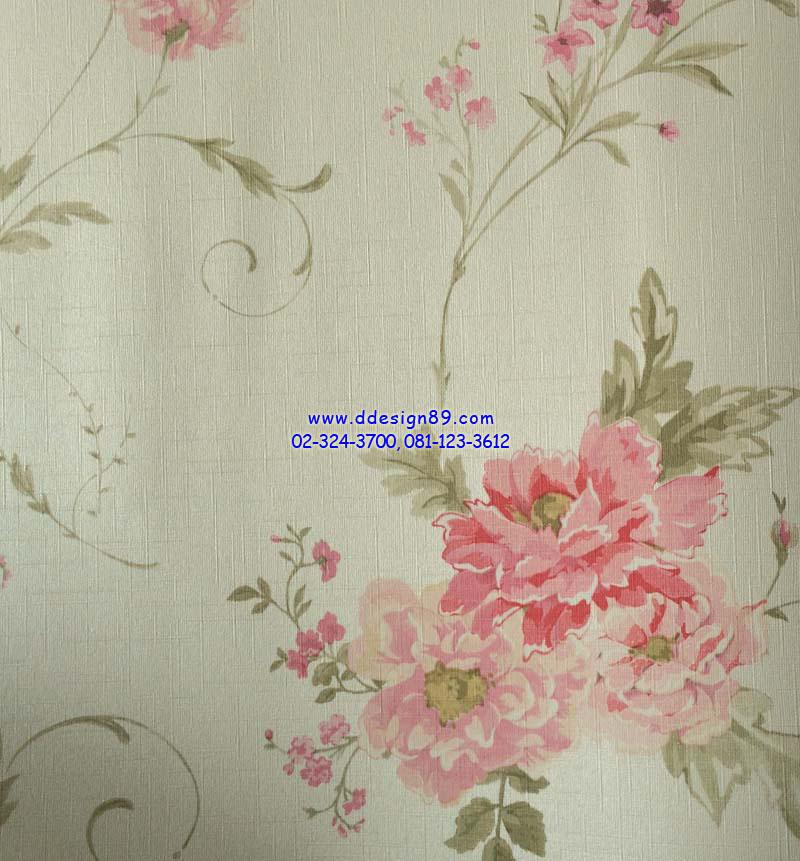 วอลเปเปอร์ติดผนัง ลายดอกไม้วินเทจ สีชมพู