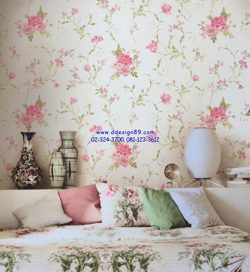 ตัวอย่าง วอลเปเปอร์ติดผนัง ลายดอกไม้วินเทจ สีชมพู