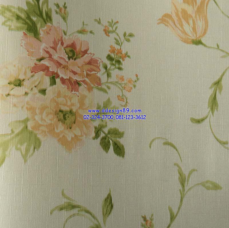 วอลเปเปอร์ติดผนัง ลายดอกไม้วินเทจ สีส้มอ่อน