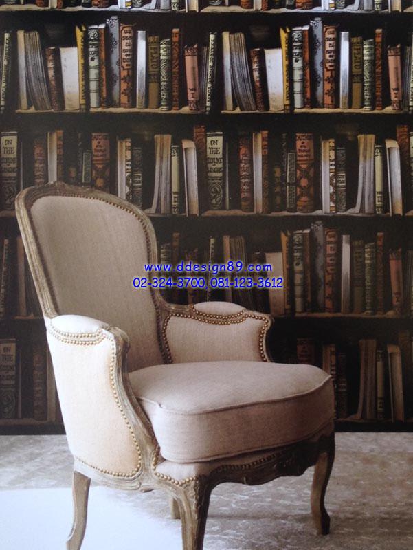 ตัวอย่าง วอลเปเปอร์ติดผนังลายชั้นวางหนังสือ
