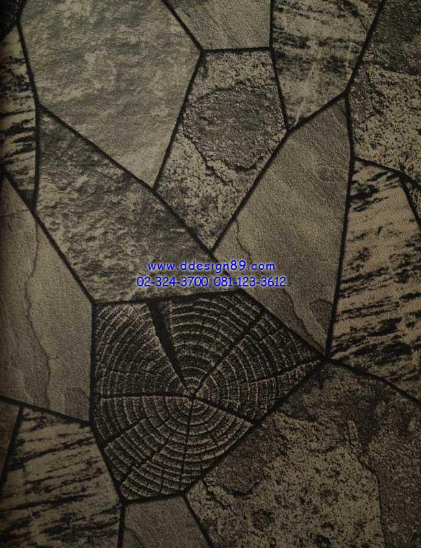 วอลเปเปอร์ติดผนังลายอิฐ หินอ่อน สีเทา ดำ
