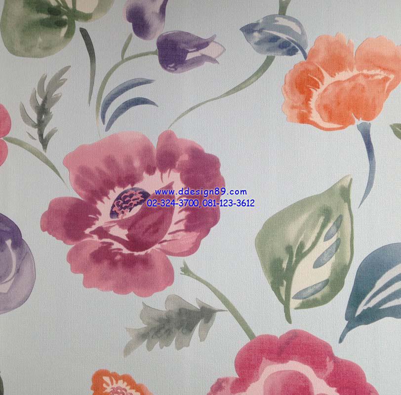 วอลเปเปอร์ติดผนังลายดอกไม้หลากสีสัน