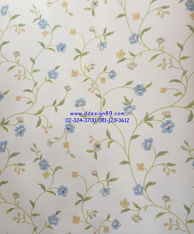วอลเปเปอร์ติดผนังลายดอกไม้สีฟ้า