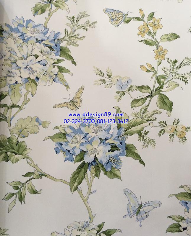 วอลเปเปอร์ติดผนังลายดอกไม้สีสีฟ้า