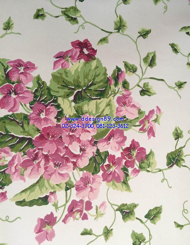 วอลเปเปอร์ิดิดผนังลายดอกไม้สีชมพู