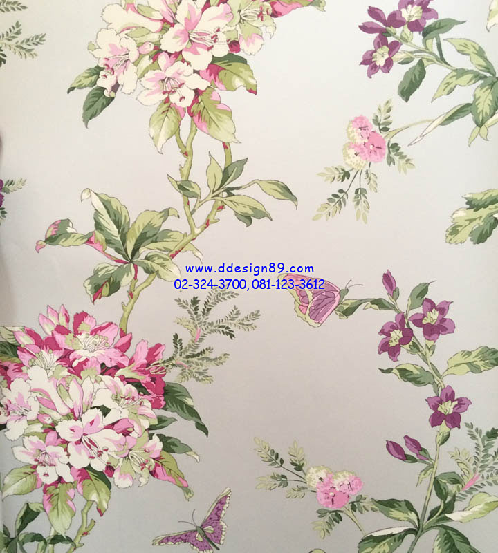วอลเปเปอร์ิดิดผนังลายดอกไม้สีขาวอมชมพู