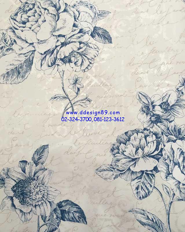 วอลเปเปอร์ิดิดผนังลายดอกกุหลาบสีน้ำเงิน