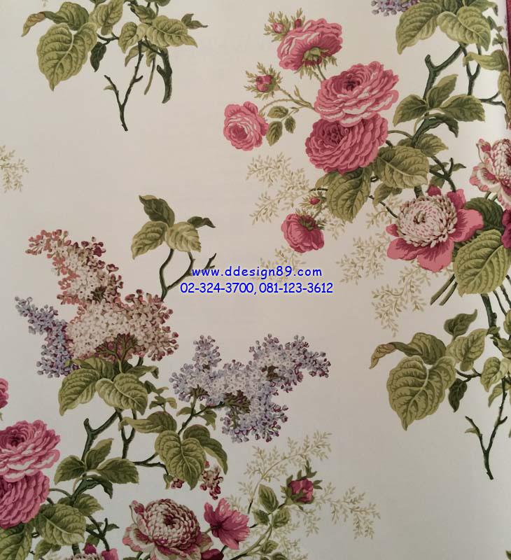 วอลเปเปอร์ิดิดผนังลายดอกกุหลาบสีชมพู