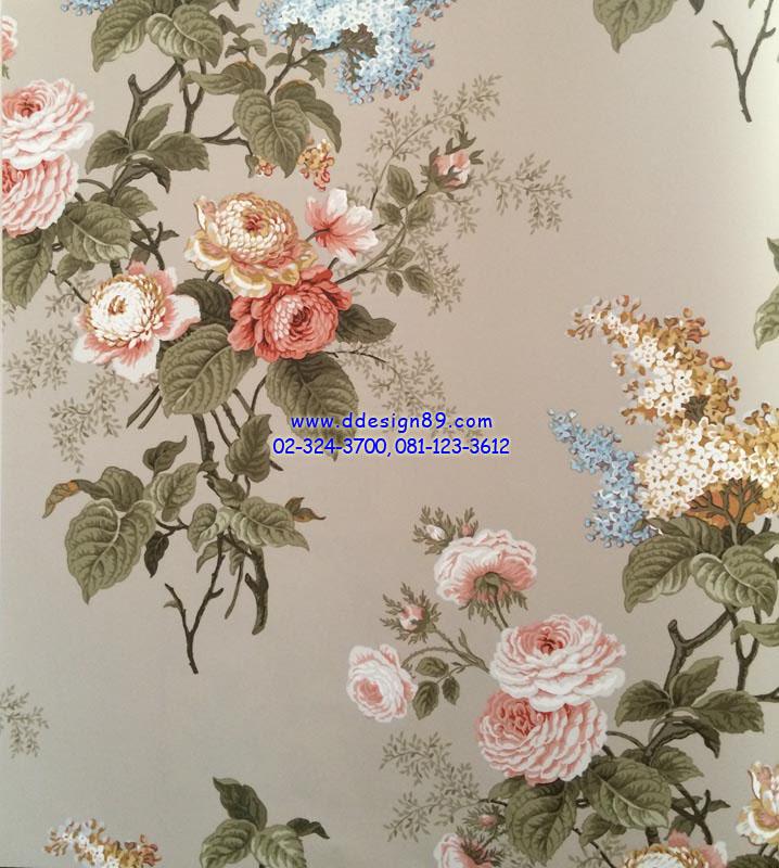 วอลเปเปอร์ติดผนังลายดอกไม้สีชมพูขาว