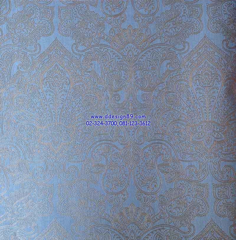 วอลเปเปอร์ติดผนังลายหลุยส์สีน้ำตาล พื้นสีฟ้าเคลือบทอง
