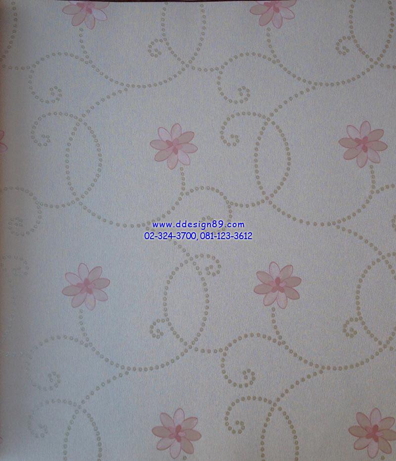 วอลเปเปอร์ติดผนังลายดอกไม้สีชมพู พื้นขาว
