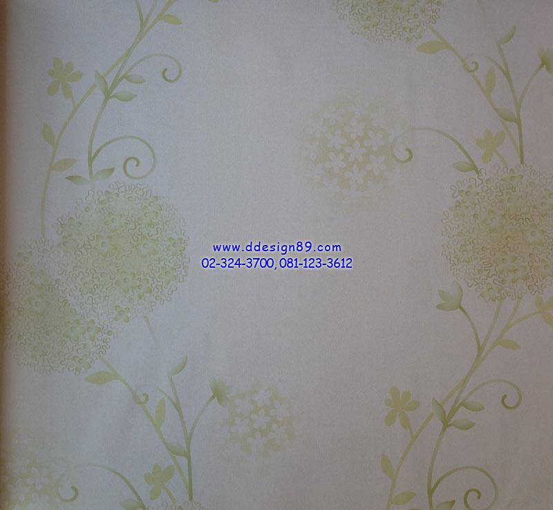 วอลเปเปอร์ติดผนังลายดอกไม้สีเขียว ขาว