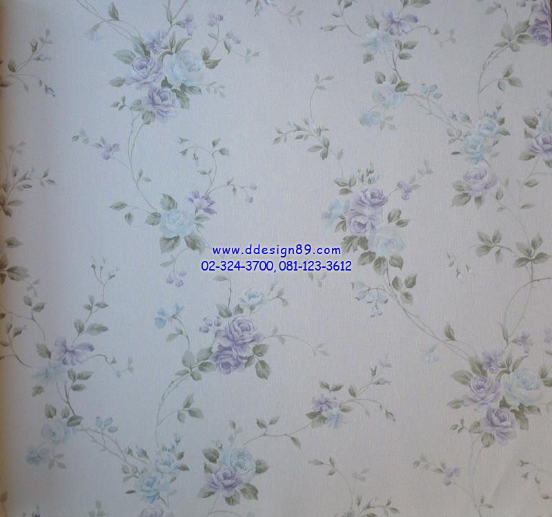 วอลเปเปอร์ติดผนังลายดอกกุหลาบสีฟ้า ม่วง